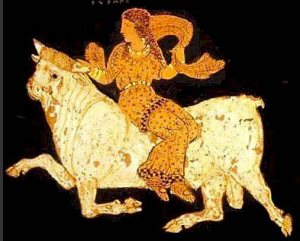 Detail from a 4th century Paestan Red-Figure vase: Europa and the Bull, Asteas, Paestan circa 340 BCE